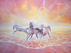 Elemental - a sunset seascape with horses