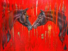 Equine Dreaming - large abstract oil painting in red and black with tw