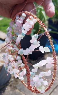 ring tree, chrysocalla and rose quartz, copper wire