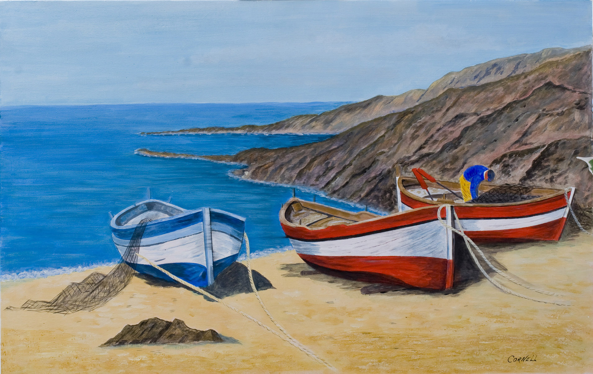 Artmajeur online art gallery sell paintings buy original for Fishing boat painting