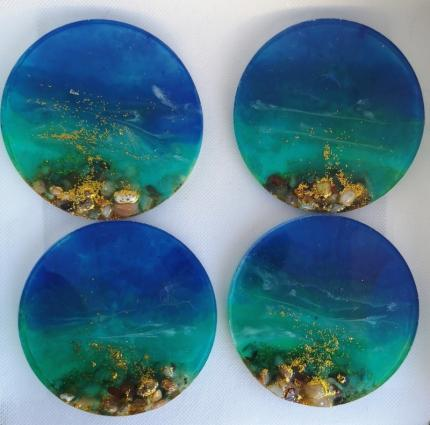 beach style resin coasters, table protectors, unique gifts c32